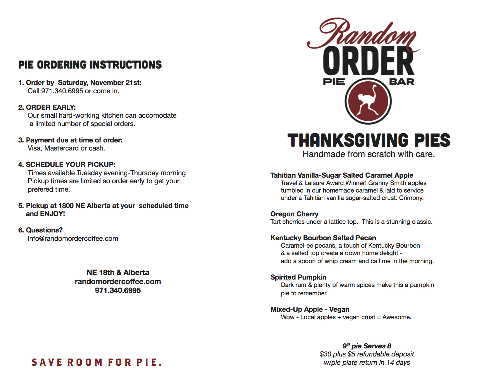 Special Order Holiday Pies!  sc 1 st  Random Order Coffeehouse u0026 Bakery & Portland Oregon Pie | Random Order Coffeehouse and Bakery